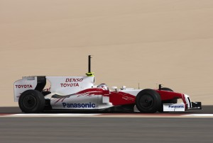 Trulli testing the TF109 in Bahrain