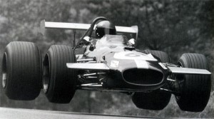Jack Brabham getting airborne at the Nurburgring's Flugplatz