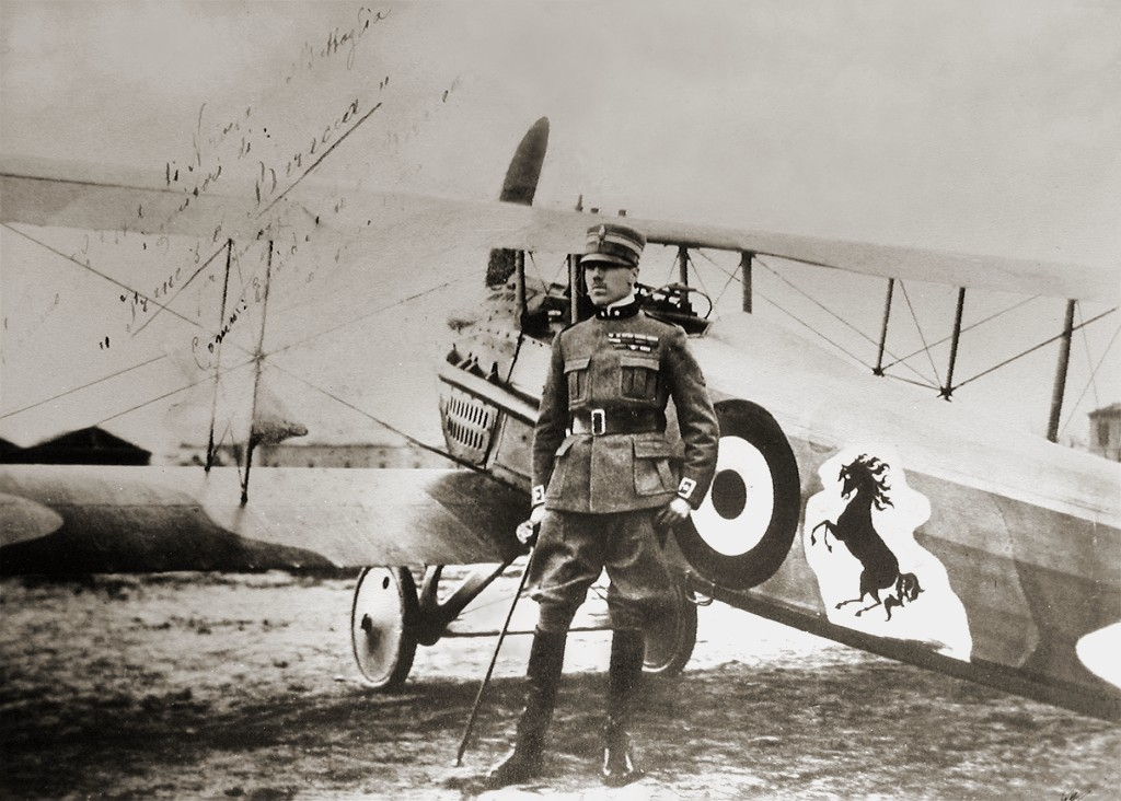 Francesco Baracca posing by his SPAD S.XIII.