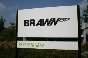 Brawn GP welcome sign, Brackley factory